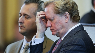 House Appropriations Committee chairman State Rep. Jim Pitts, R-Waxahachie (r), ponders HB1 the state budget as State Rep. Dwayne Bohac (l) listens on April 1, 2011.