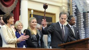 House Speaker Joe Straus gavels out the ceremonial first session of the Texas House 83rd Session on January 8, 2013