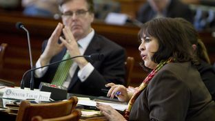 Sen. Leticia Van de Putte D-San Antonio, asks question during a Joint Committee Hearing on School Safety in the Senate Chamber on January 28th , 2013