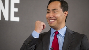 Candidate for U.S. Congress Joaquin Castro smiles while speaking to Texas Tribune editor Evan Smith at TribLive on December 1, 2011.