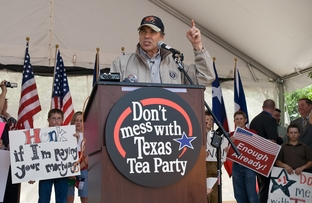 "Texas Gov. Rick Perry addresses a crowd estimated at 1,000 at a tax day ""tea party"" April 15 at City Hall to protest federal government stimulus programs"