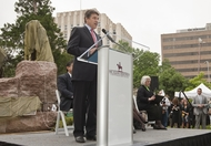 Gov. Rick Perry speaking at the unveiling of Tejano Monument on the Capital grounds on March 29, 2012.
