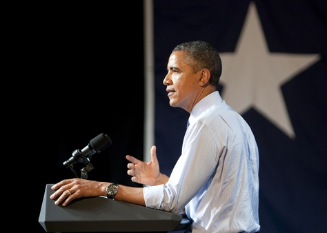 President Obama speaks to a crowd at the Austin Music Hall on July 17, 2012.
