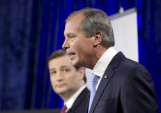 Ted Cruz and Lt. Gov. David Dewhurst at a U.S. Senate debate in Houston on July 23, 2012.