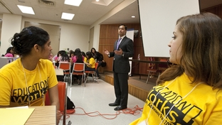 State Rep. Joaquin Castro, D-San Antonio speaks to youth group in Austin to advocate for more comprehensive sex education in public schools. March 8th, 2011