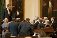 Senators gather in Texas Senate well as they discuss SB 14 Voter ID January 26th, 2011