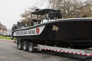 Newly commissioned patrol vessel, part of the Tactical Marine Unit, funded by federal Homeland Security grants, will help with the state's efforts in combating Mexican drug cartels patrolling the Rio Grande River