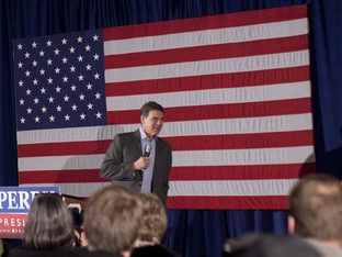 Rick Perry gives his last speech of 2011 in Boone, Iowa on December 31, 2011.
