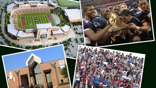 Clockwise from top left: an architect's rendering of the new stadium; Allen players after the 2008 state championship in Houston; Allen students at a game in the current stadium; the front of Allen High.