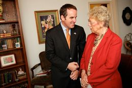 Texas State Representative, Bryan Hughes, speaks with a member of the Mineola Study Club on October 9, 2012.
