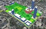 This rendering, from the Texas Facilities Commission, shows the locations for proposed new state-owned buildings in pink, sites for privately owned buildings on leased state land in blue, and a mall stretching for four blocks north of the Capitol (the light green area on the upper right).