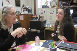 TCAC adviser, Allison Najera and Cynthia McCarty, head guidance counselor at Thomas Jefferson High School in San Antonio