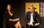 Elise Hu with Tribune CEO Evan Smith during a live taping of the TribCast.