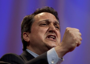 Steve Munisteri, campaigning for Texas GOP chairman at the party convention in Dallas.