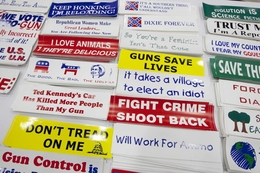 Bumper stickers for sale at the first general session of the Texas Republican Convention featuring Governor Rick Perry and all the other statewide elected officials.