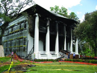 The iconic Texas Governor's Mansion was nearly demolished by fire in June 2008 after an arsonist hurled a Molotov cocktail at the front door.