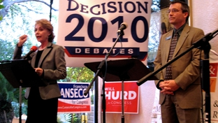 Rick Green and Judge Debra Lehrmann at a Young Republicans debate in San Antonio.