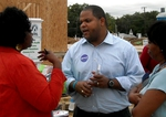 Democrat Eric Johnson campaigns to replace incumbent Dallas Rep. Terri Hodge in House District 100. Hodge has pleaded guilty to lying on her tax return.