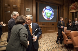 UT System Chancellor Dr. Francisco Cigarroa kisses an audience member after his speech to the UT Board of Regents on May 12, 2011.