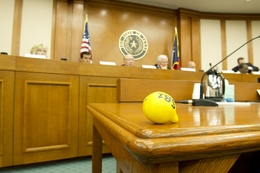 A lemon is left on the desk by a protester as the Senate Finance Committee voted to use the rainy day fund to balance the state budget on April 21, 2011.