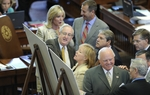 State Representatives look at the redistricting maps on the floor of the Texas House on April 27, 2011
