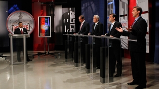 The four major Republican contenders for the U.S. Senate — David Dewhurst, Tom Leppert, Ted Cruz and Craig James — debated in Dallas on April 13, 2012.