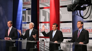 David Dewhurst, Tom Leppert, Ted Cruz and Craig James at a U.S. Senate debate in Dallas on April 13, 2012.