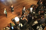 The press risers set up for Gov. Rick Perry and other Republicans' on election night, November 2, 2010.