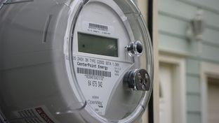 Meter on a home in Houston, TX