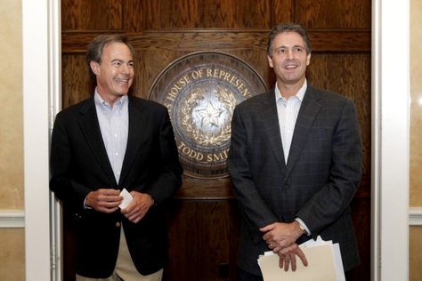 House Speaker Joe Straus, left, and state Rep. Todd Smith, R-Bedford.