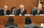 "Senators Juan ""Chuy"" Hinojosa (D-Mission), Chairman Steve Ogden (R-Bryan) and John Whitmire (D-Houston) listen to SB1 testimony on January 31, 2011"