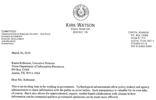 State Sen. Kirk Watson sent a letter urging more government transparency to the Texas Department of Information Resources, one of several agencies who received it.