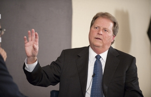 Democratic candidate for U.S. Senate Paul Sadler gestures while answering a question at TribLive on March 22, 2012.  Sadler admits it will be a challenge to win the Senate seat being vacated by Kay Bailey Hutchison.