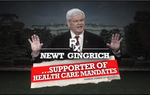 "In his latest ad, Rick Perry takes aim at GOP front-runners Newt Gingrich and Mitt Romney on health reform and vows to repeal ""Obamacare."""
