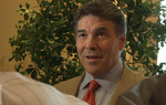 "After Gov. Rick Perry and Democrat Bill White each addressed a Texas Farm Bureau conference in San Marcos, Perry spoke with reporters about his relationship with the group, which Farm Bureau spokesman Gene Hall has described as ""strained"" after Perry vetoed an eminent domain bill in 2007. The group endorsed Perry's rival, U.S. Sen. Kay Bailey Hutchison, in the Republican primary this spring, but its general election endorsement is still up for grabs."