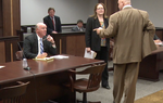 Decorum broke down on Monday before a hearing began in Galveston County Court concerning a case involving plaintiffs' attorney Steve Mostyn, the Texas Windstorm Insurance Association (TWIA), and state Rep. Larry Taylor, R-Friendswood. Mostyn — one of the state's leading trial lawyers and Democratic donors — confronts Taylor's attorney, Joe Nixon, who in his former life as a legislator authored a 2003 tort reform bill limiting lawsuit damages. Mostyn berates Nixon about how he offered his services unsolicited to Taylor, who has sought to make public the fees earned by Mostyn and other lawyers who sued TWIA. Mostyn compares it to oft-criticized client recruitment by plaintiffs' lawyers (ambulance chasing, in other words).