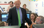 Video of the Democratic gubernatorial nominee — confident as Nov. 2 approaches — visiting his Austin campaign headquarters.