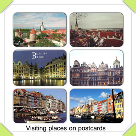 Visiting places on postcards