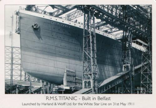 Titanic in preparation for launch, Belfast 1911