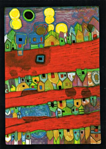 FRIEDENSREICH HUNDERTWASSER 905 Red Streets Rivers of Blood - Red Rivers. Streets of Blood, 1988.