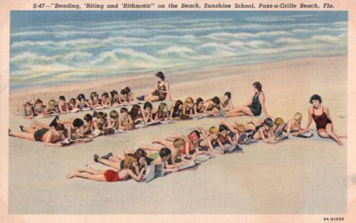 Vintage postcard showing schoolchildren learning on the beach in Florida.