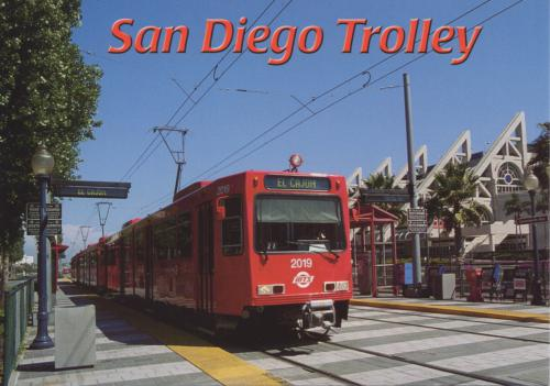 The trolley departing the downtownSan Diego Convention Center Station.