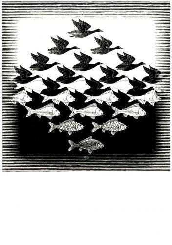 M.C. Escher. Sky and Water I. 1938, woodcut