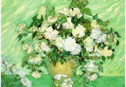 """Roses"" by Vincent Van Gogh.  A big big thank you to Stephanie in California for this fabulous card!"