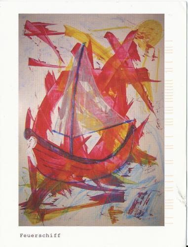 Fire ship - an original acrylic painting by Manuela in Germany