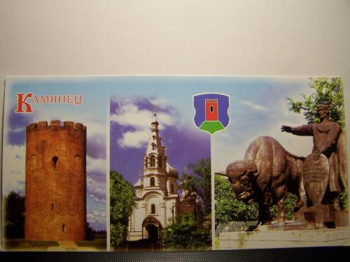 28.2.2012 Belarus, Tower of Kamyanets, Architectural monument of the XIII century; St Simeon Church, constructed 1914; Monument to the founder of the town