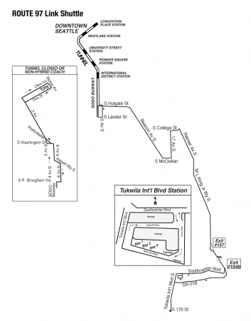 map of Route 97 Link Shuttle (pre U-Link)