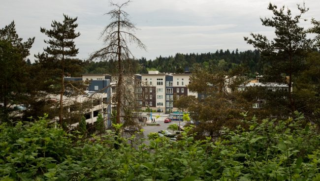 Transit-Oriented Development at the South Kirkland Park-and_Ride, pictured from the adjacent rail corridor.