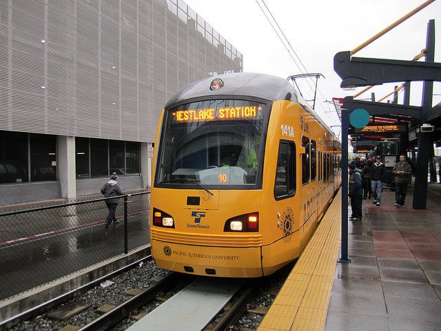 Link at Stadium Station, flanked by one of Metro's employee parking garages (SounderBruce - Flickr)