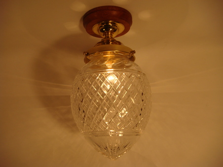 Large Cut Glass Acorn Bc Flush Ceiling Light